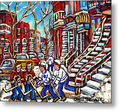 Calgary Flames Vs Maple Leafs Hockey Art Kids Winter Fun Montreal Streets And Staircases Canada Art Metal Print