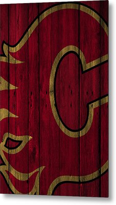 Calgary Flames Wood Fence Metal Print