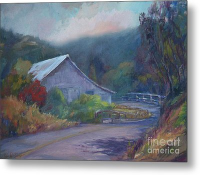 California Barn ... Around The Bend Metal Print by Deirdre Shibano