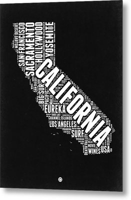 California Black And White Word Cloud Map Metal Print by Naxart Studio