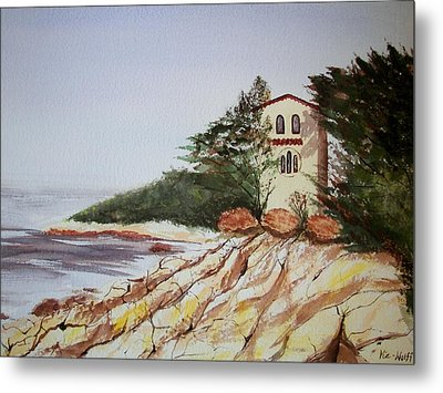 Metal Print featuring the painting California Coast Dreamhouse by Judy Via-Wolff