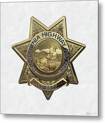 California Highway Patrol  -  C H P  Chief Badge Over White Leather Metal Print