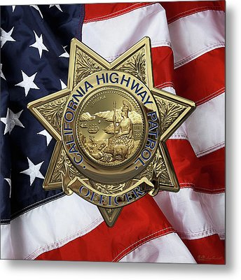 California Highway Patrol  -  C H P  Police Officer Badge Over American Flag Metal Print