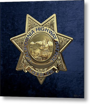 California Highway Patrol  -  C H P  Police Officer Badge Over Blue Velvet Metal Print by Serge Averbukh