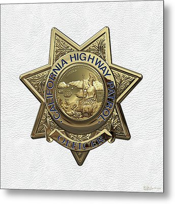 California Highway Patrol  -  C H P  Police Officer Badge Over White Leather Metal Print