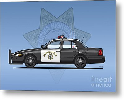 California Highway Patrol Ford Crown Victoria Police Interceptor Metal Print by Monkey Crisis On Mars