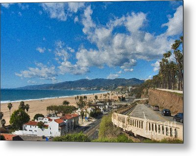 Metal Print featuring the photograph California Incline Palisades Park Ca by David Zanzinger