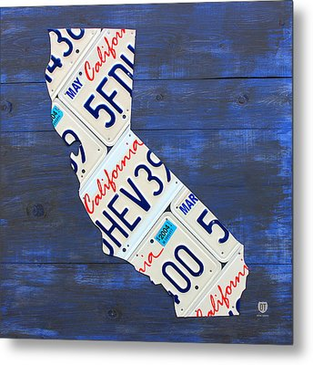California License Plate Map On Blue Metal Print by Design Turnpike