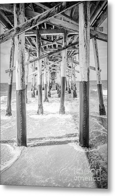 California Pier Black And White Picture Metal Print by Paul Velgos