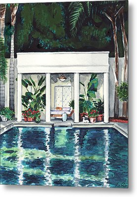 California Pool House Greek Revival Metal Print