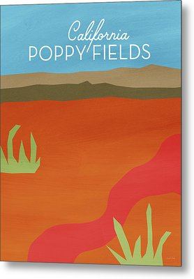 California Poppy Fields- Art By Linda Woods Metal Print by Linda Woods