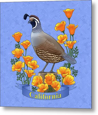 California Quail And Golden Poppies Metal Print