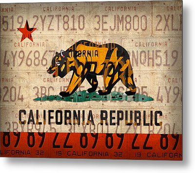 California State Flag Recycled Vintage License Plate Art Metal Print