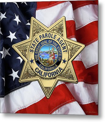 California State Parole Agent Badge Over American Flag Metal Print by Serge Averbukh