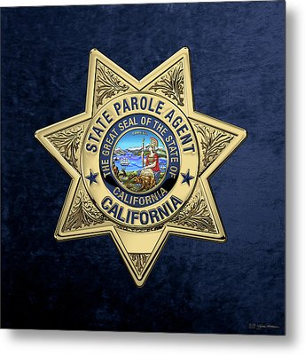 California State Parole Agent Badge Over Blue Velvet Metal Print by Serge Averbukh