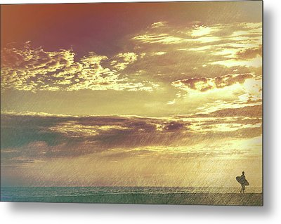 California Sunset Surfer Metal Print