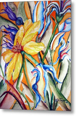 Metal Print featuring the painting California Wildflowers Series I by Lil Taylor