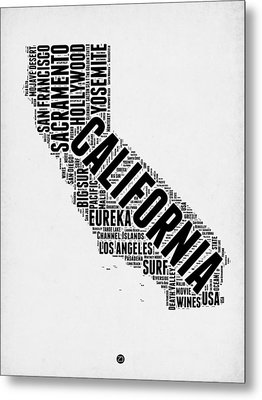 California Word Cloud Map 2 Metal Print by Naxart Studio
