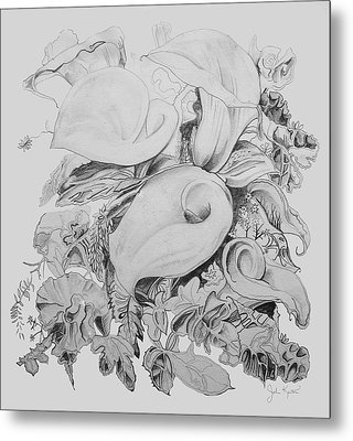 Calla Lillies In Black And White Metal Print by John Keaton