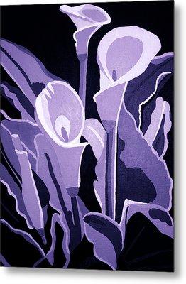 Calla Lillies Lavender Metal Print by Angelina Vick