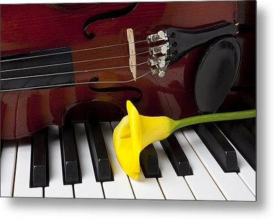 Calla Lily And Violin On Piano Metal Print by Garry Gay