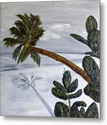 Calm Beach Palm Metal Print