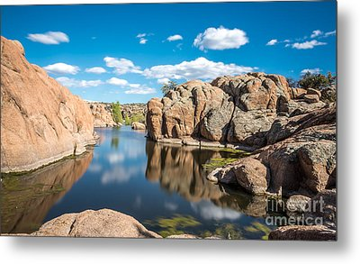 Calm Reflections At Watson Lake Metal Print by Leo Bounds