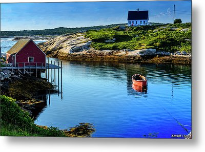Calm Water At Peggys Cove #3 Metal Print by Ken Morris
