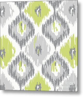 Calyx Ikat Pattern Metal Print by Mindy Sommers