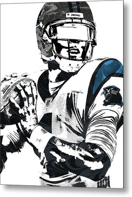 Metal Print featuring the mixed media Cam Newton Carolina Panthers Pixel Art 3 by Joe Hamilton