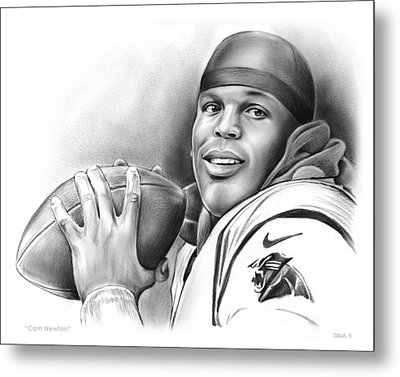 Cam Newton Metal Print by Greg Joens
