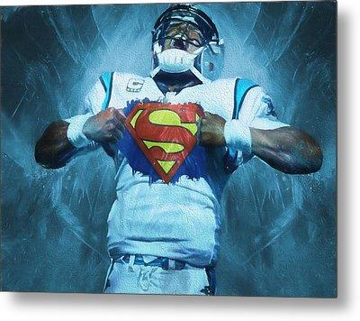 Cam Newton Superman Metal Print by Dan Sproul