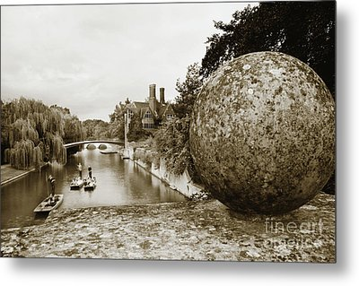 Metal Print featuring the photograph Cambridge Punting Sepia by Eden Baed