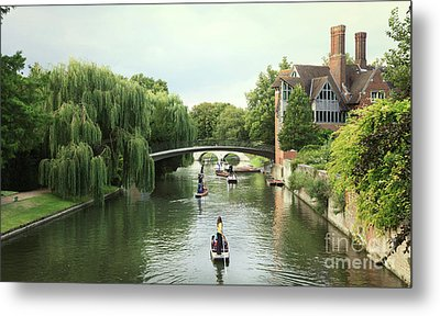 Metal Print featuring the photograph Cambridge River Punting by Eden Baed