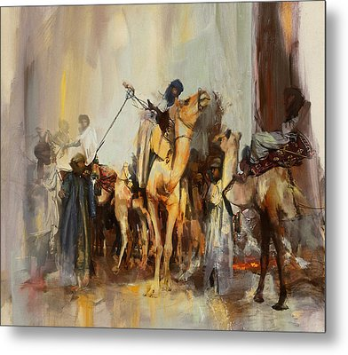 Camels And Desert 21 Metal Print by Mahnoor Shah