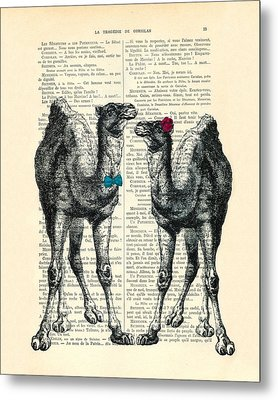 Camels Married Couple Metal Print by Madame Memento