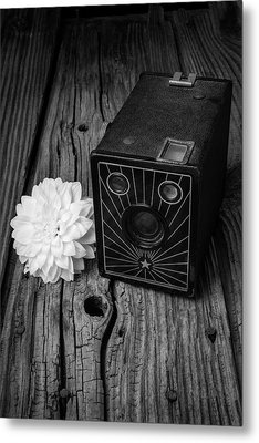 Camera And Dahila Metal Print