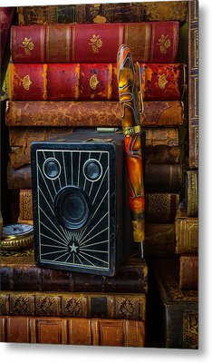 Camera And Old Books Metal Print