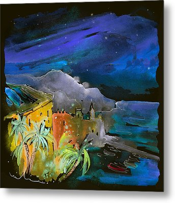 Camogli By Night In Italy Metal Print by Miki De Goodaboom