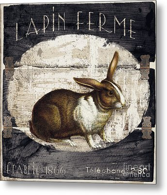 Campagne Iv Rabbit Farm Metal Print by Mindy Sommers