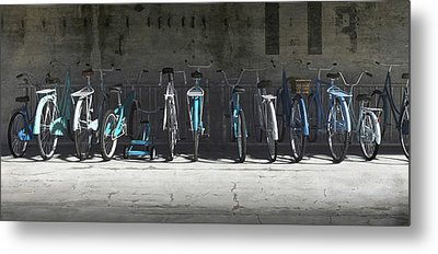 Campbell Blue Bike Rack Metal Print by Cynthia Decker