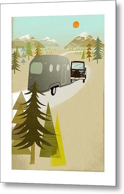 Camper Driving Into The Mountains Metal Print