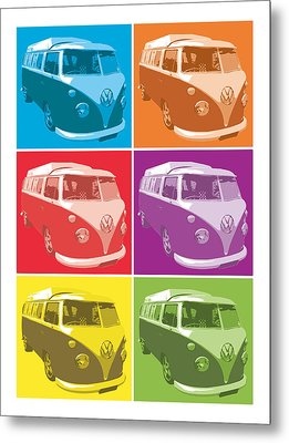 Camper Van Pop Art Metal Print