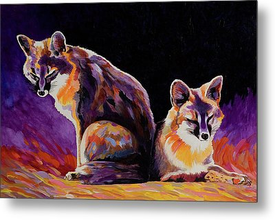 Metal Print featuring the painting Campfire Surveillance Team by Bob Coonts