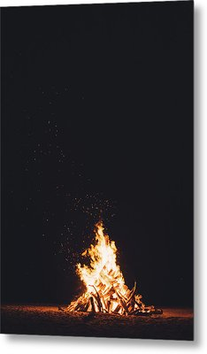 Camping Fire Metal Print by Happy Home Artistry
