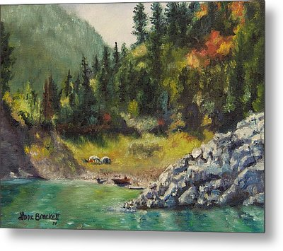 Camping On The Lake Shore Metal Print