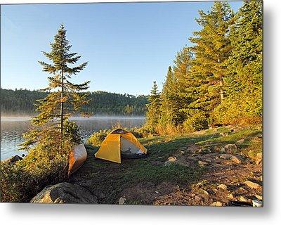 Campsite On Alder Lake Metal Print by Larry Ricker