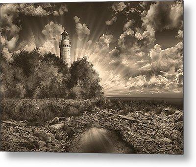 Cana Island Lighthouse Sepia Metal Print by Bekim Art