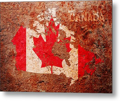 Canada Flag Map Metal Print by Michael Tompsett