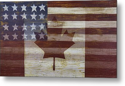 Canadian American Flag Metal Print by Garry Gay